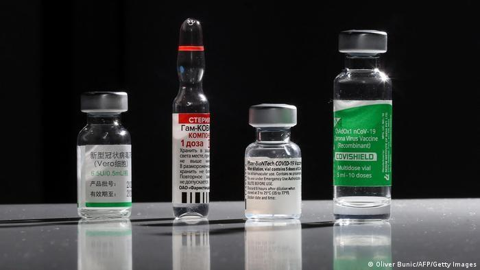 Phials containing various different vaccines against the coronavirus (photo: Oliver Bunic/AFP/Getty Images)