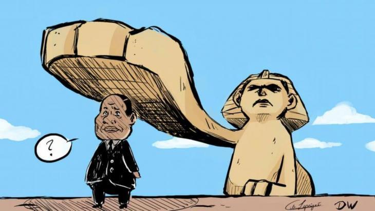 Caricature of President Abdul Fattah al-Sisi by Celine Rubbelke (source: DW)