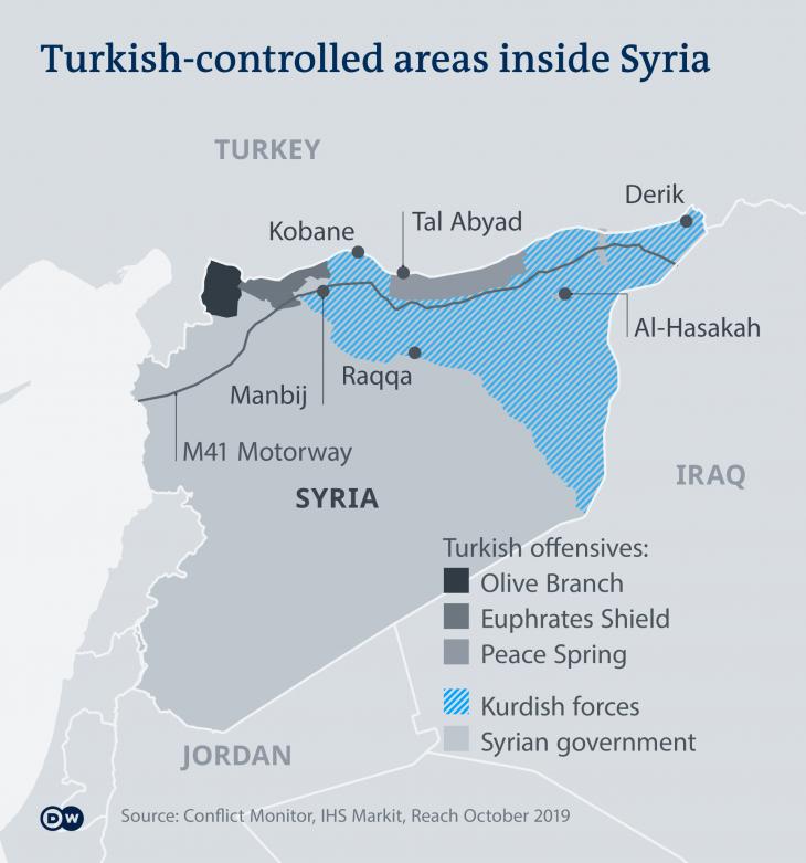 Turkish-controlled areas in Syria (source: Deutsche Welle)