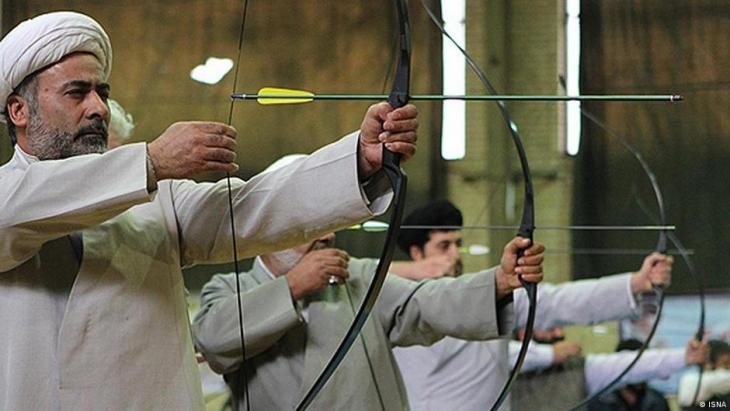 Archery contest for religious clerics in Iran, 2012 (photo; ISNA)