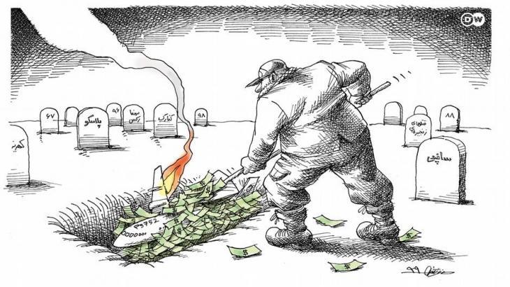 Caricature relating to Iran's shooting down of the Ukrainian airliner on 8 January 2020 (photo: Maya Neystani/DW)