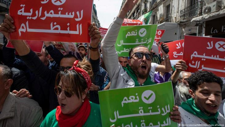 Demonstration of the 112th Friday in Algeria. The demonstrators of Hirak, a popular protest movement born on February 22, 2019 marched in the streets of Algiers to reiterate their refusal to the early legislative elections on 12 June and demand the independence of the judiciary as well as the release of the Hirak detainees, 9 April 2021 (photo: Louiza Ammi/ABACAPRESS.COM)