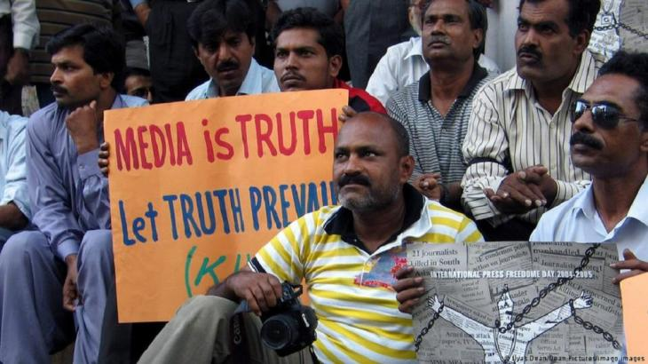 Pakistani journalists protest against difficult working conditions in Karachi (photo: Ilyas Dean/Dean Pictures/imago image)