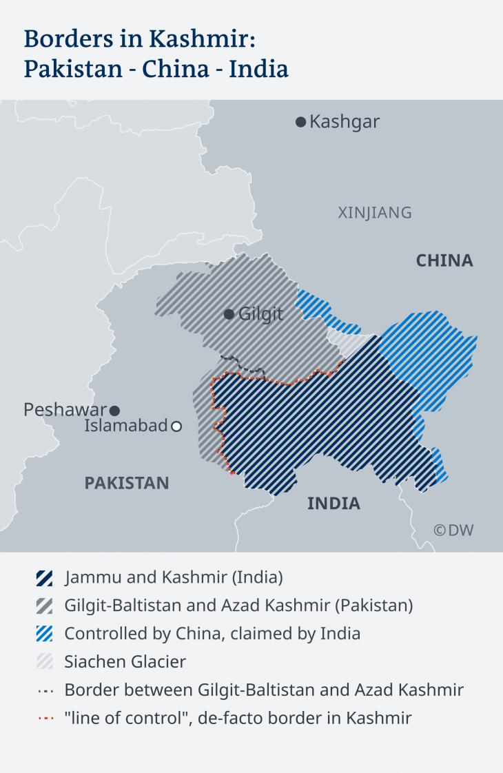Kashmir borders, Wikimedia 2019 (source: DW)
