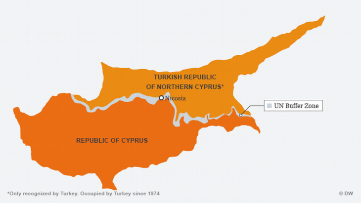 Map showing the division of the island of Cyprus (source: DW.com)