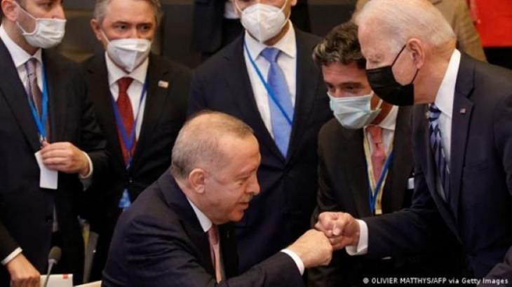 Erdogan and Biden bump fists at the Brussels summit in June (photo: Olivier Matthys/AFP/Getty Images)