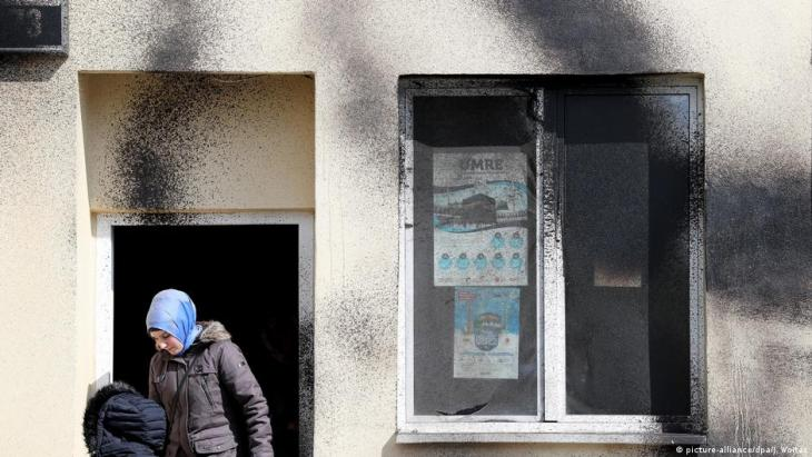 Paint attack on a mosque in Leipzig in 2017 (photo: picture-alliance/dpa/J. Woitas)