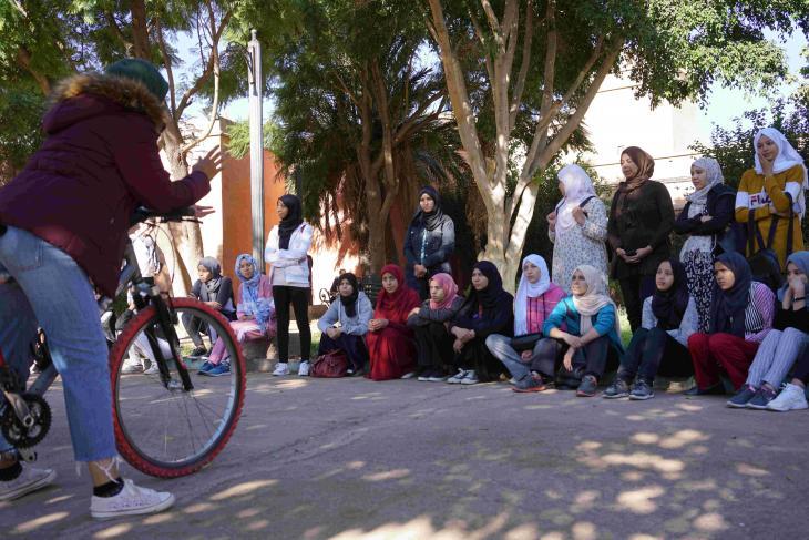 Khaoula El Haidi teaches young women to ride a bicycle, Pikala Bikes, Marrakech, Morocco (photo: Marian Brehmer)