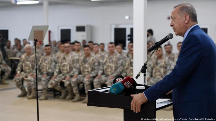 Turkish President Recep Tayyip Erdogan makes a speech as he visits Qatari-Turkish Combined Joint Force Command, in Doha, Qatar on 25 November 2019 (photo: Turkish Presidency/Mustafa Oztartan/AA)