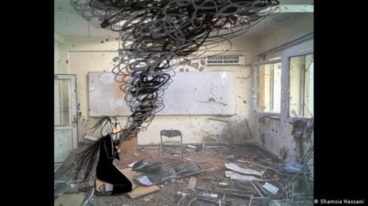 Hassani created this image after gunmen attacked Kabul University in November 2020 (photo: Shamsia Hassani)