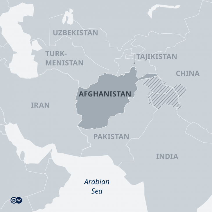 Infographic showing a map of Afghanistan and neighbouring states (source: DW)