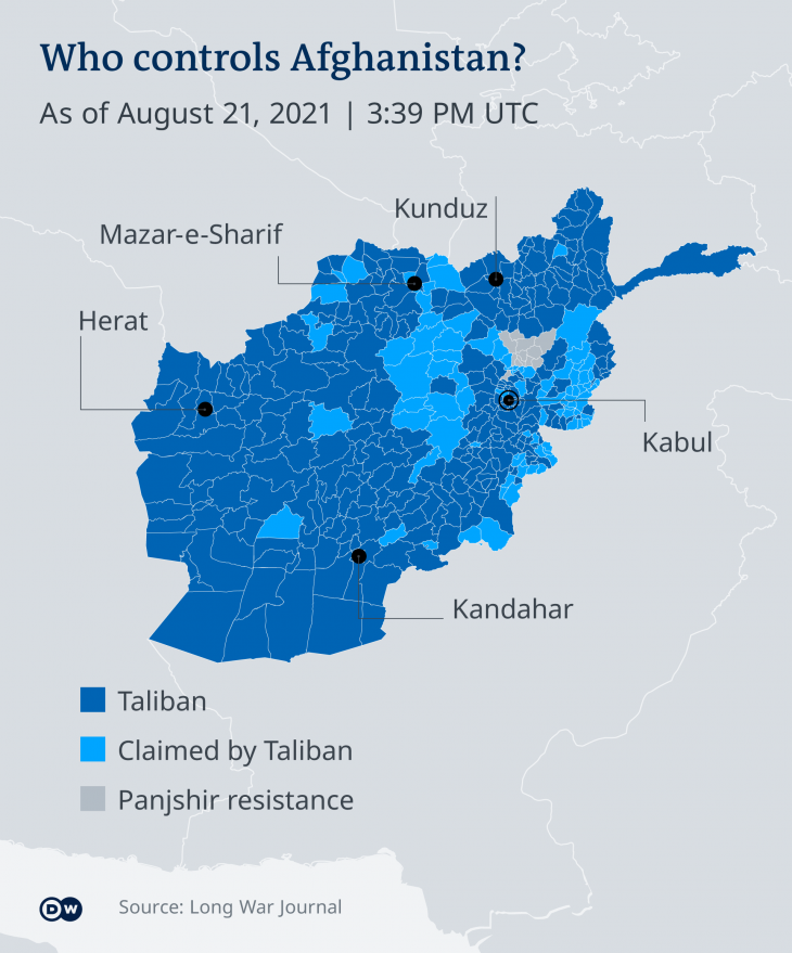 """Infographic """"Who controls Afghanistan"""" (source: DW)"""