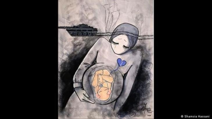 Her response to an extremist attack on a maternity ward in 2020 that killed pregnant women, their unborn children and new-borns (photo: Shamsia Hassani)