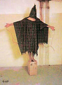 Detainee in Abu Ghraib being tortured (photo: AP)
