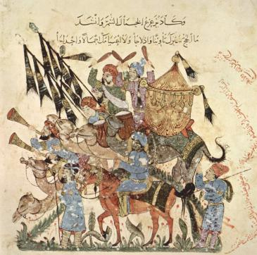 Caravan of pilgrims in Ramleh (31st Maqamat) by Yahya ibn Mahmud al-Wasiti, manuscript of Maqamat of al-Hariri (owned by the Bibliotheque Nationale de France; photo: part of the Yorck Project compilation, copyright: Zenodot Verlagsgesellschaft mbH))