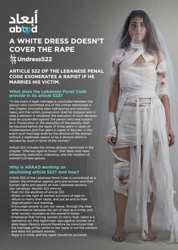 Campaign poster produced by Lebanese NGO Abaad against Article 522 (source: abaadmena.org)