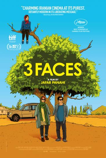 "Film poster of Jafar Panahiʹs ""Three Faces"" (distributed by Memento Films)"