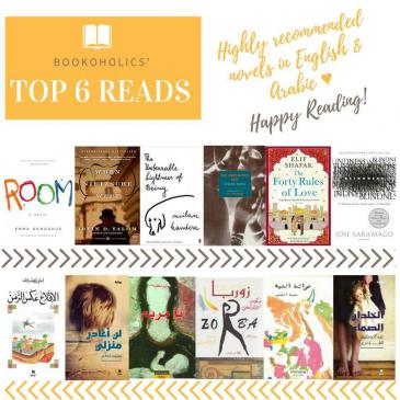 Celebrating Bookoholics 6th anniversary: members voted on their 6 favourite books in English and Arabic (source: Twitter; Hoda Marmar)