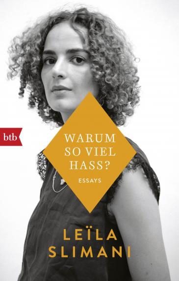 "Cover of Leila Slimani's volume of essays ""Warum so viel Hass?"" - Why so much hate? (published in German by btb)"