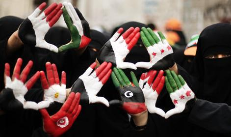 Hands up for freedom in the Arab world