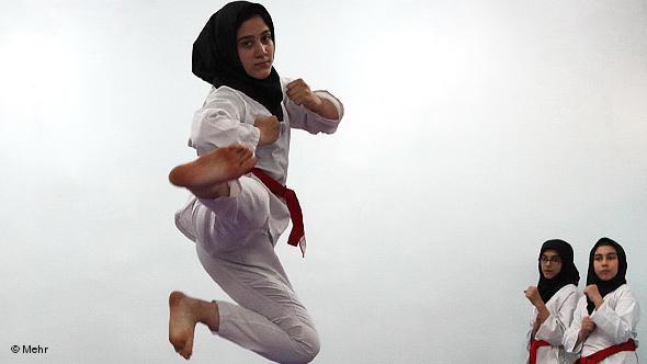 Young Iranians practising karate