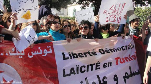 Fears that Islamic forces will step in to fill the political vacuum: Tunisian women call for freedom and a secular system following the toppling of Ben Ali