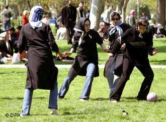 Headscarf football fun in a Teheran park