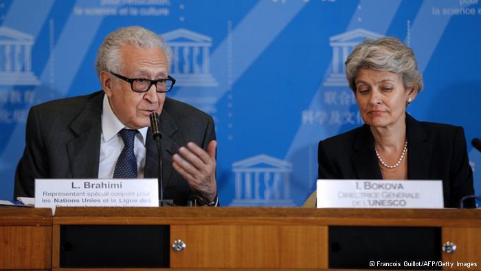 Lakhdar Brahimi and Irina Bokova