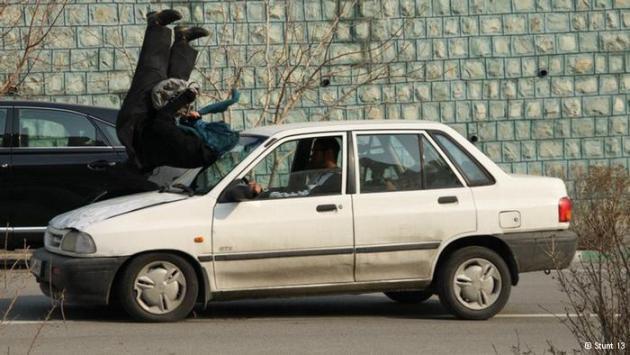 Mahsa Ahmadi filming a car stunt scene (photo: Stunt 13)