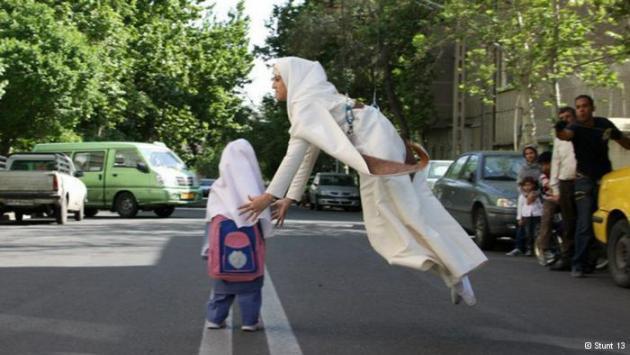 Ahmadi performs a stunt in Islamic dress (photo: Stunt 13)