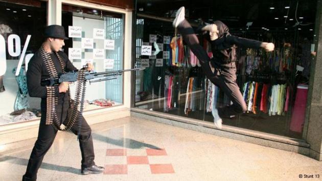 Stunt woman Mahsa Ahmadi leaps into the air in a fight scene (photo: Stunt 13)