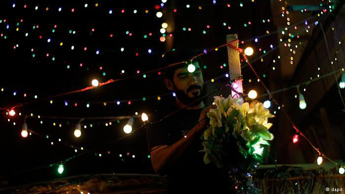 Strings of lights illuminating a private house in Bahrain during Ramadan. Photo: dapd