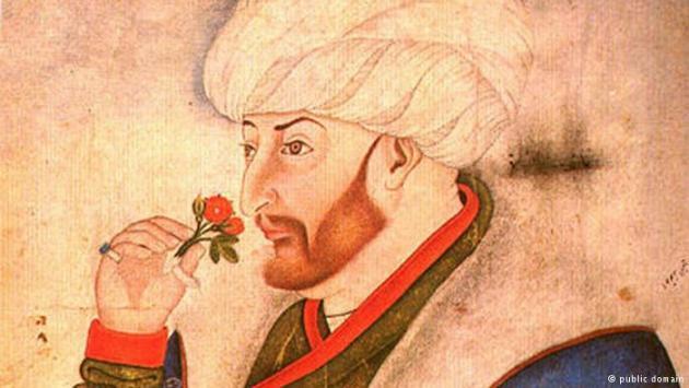 Illustration showing Sultan Mehmed II smelling a rose, from the Sarayi Albums.