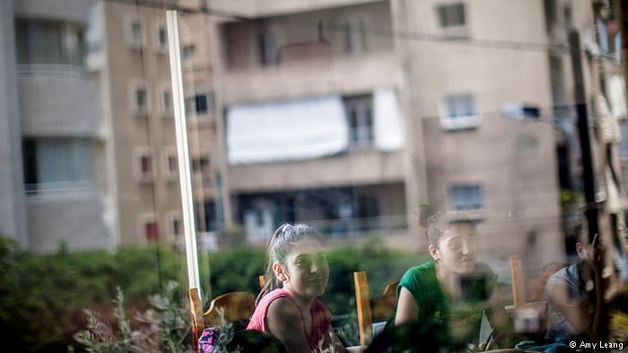 A building reflected in a classroom window, Karam Zeitoun School, Beirut (photo: Amy Leang)