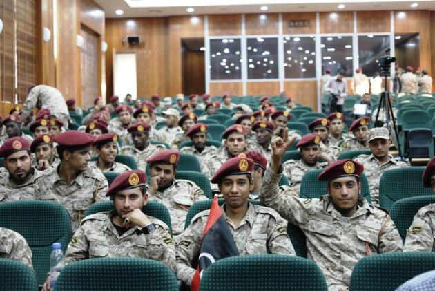 Members of the Sawaiq militia at an induction ceremony for the Libyan army (photo: Valerie Stocker)