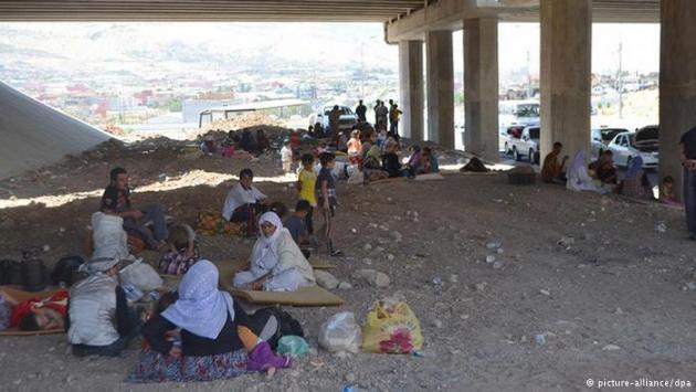 Yazidis taking shelter under a bridge (photo: picture-alliance/dpa)