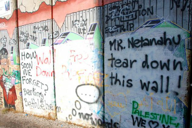 Berlin-themed graffiti on the wall near Bethlehem (photo: Laura Overmeyer)