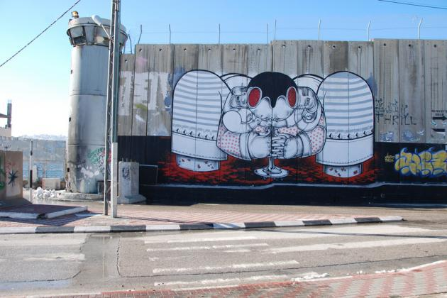 Graffiti by How & Nosm, painted in autumn 2013, Bethlehem (photo: Laura Overmeyer)