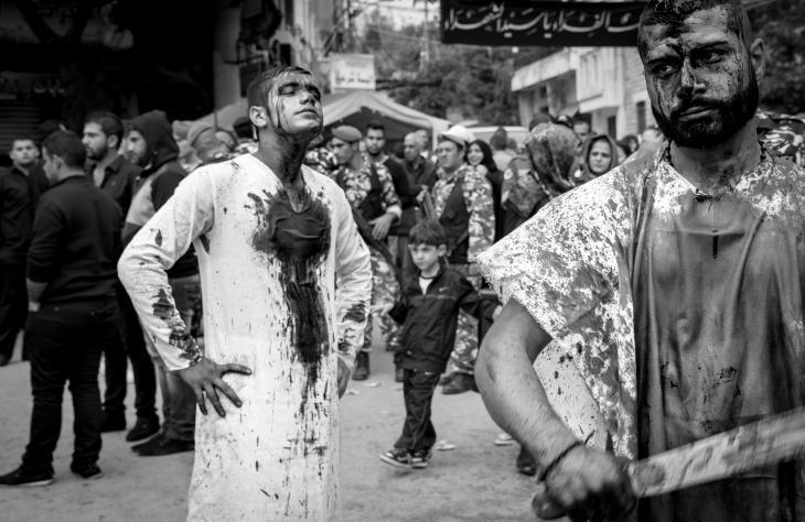 "Young Shia men who took part in the ""tatbir"" in Nabatiyeh, Lebanon, November 2014 (photo: Maya Hautefeuille)"