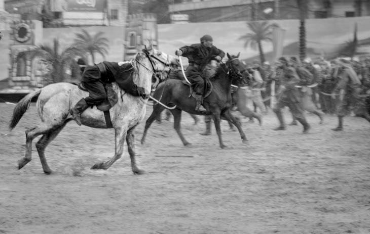 The ta'ziyeh features professional actors, horses and elaborate costumes, Nabatiyeh, Lebanon, November 2014 (photo: Maya Hautefeuille)