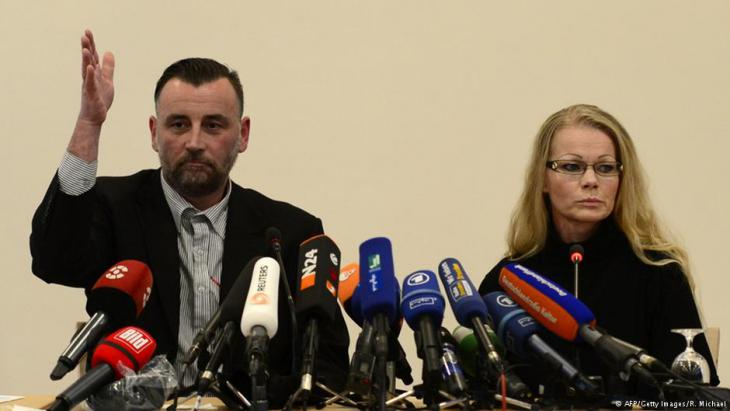 Lutz Bachmann and Kathrin Oertel of Pegida at a press conference in Dresden, 19 January 2014 (photo: AFP/Getty Images/R. Michel)
