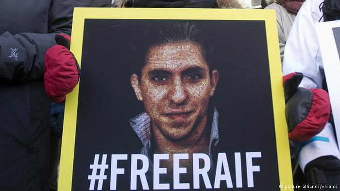 Protesters call for the release of Raif Badawi (photo: picture-alliance/empics)