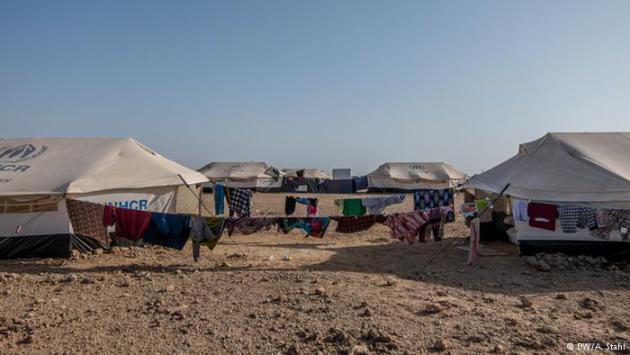 Tent city: the UNHCR has provided tents for Markazi refugee camp (pictured here). As of 20 May, the camp was home to 1,055 refugees, but that number is expected to continue to grow rapidly as the conflict in Yemen shows no sign of abating.
