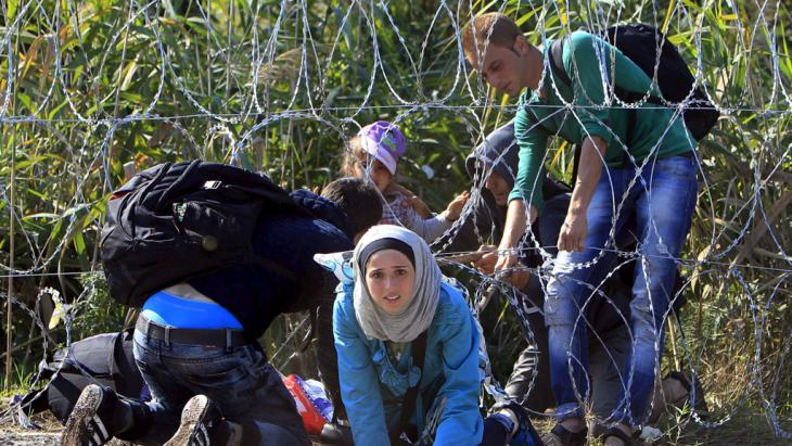 Syrian refugees cross the Serbian-Hungarian border (photo: AFP/Getty Images)