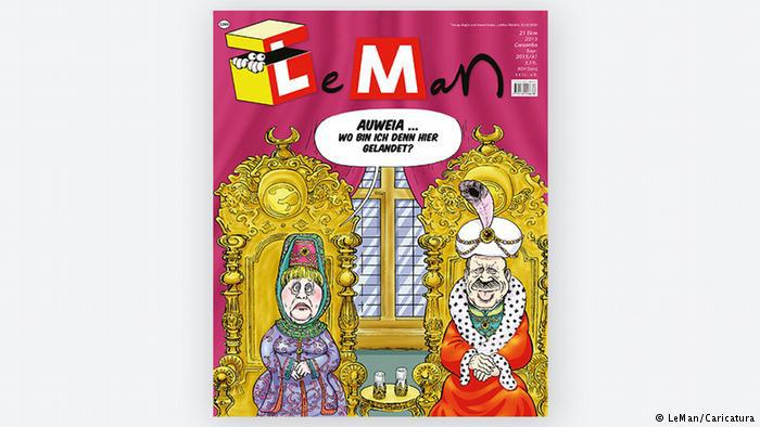 Angela Merkel and Erdogan in a cartoon on the cover of LeMan magazine (photo: LeMan/Caricatura)