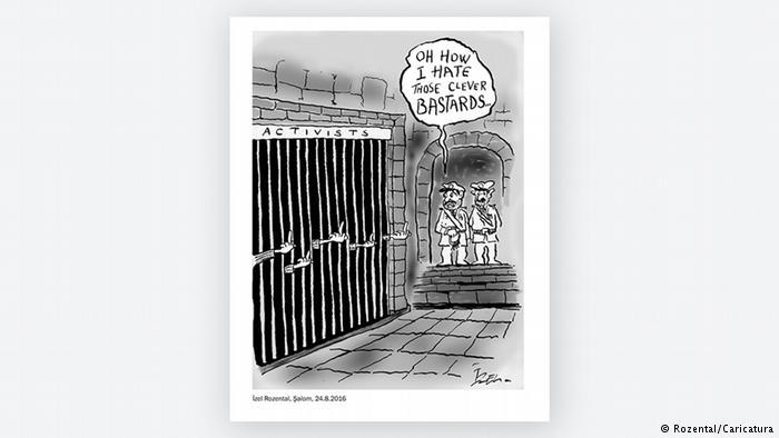 Cartoon by Izel Rozental on imprisoned activists (photo: Rozental/Caricatura)