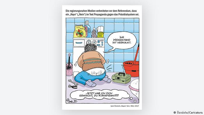 Cartoon by Ipek Ozsuslu - a plumber's take on the Turkish referendum (photo: Ozsuslu/Caricatura)