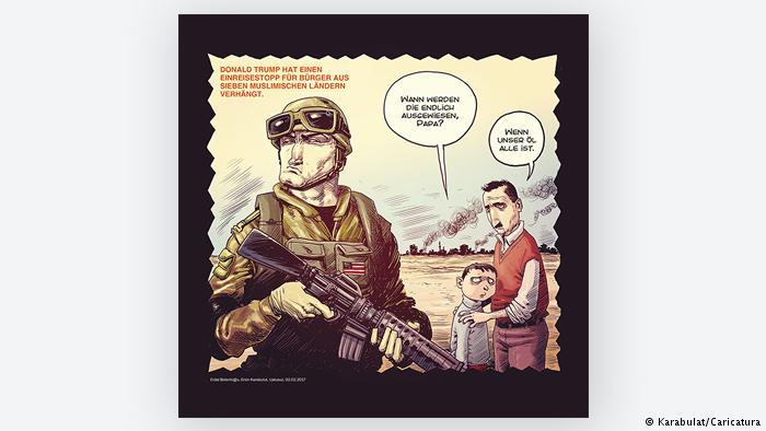 Cartoon, a soldier, a child and his father (photo: Karabulat/Caricatura)