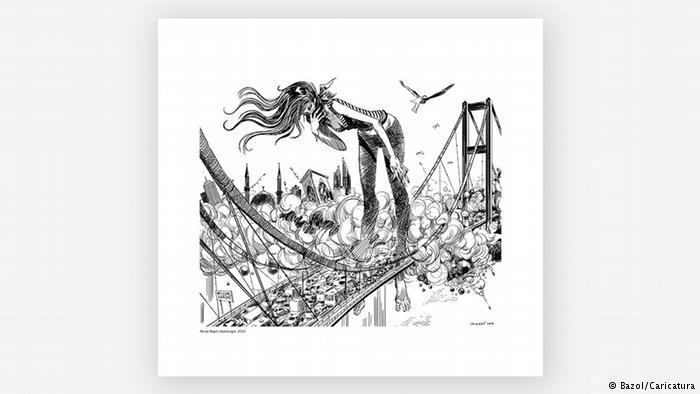 Cartoon by Murat Basol. Comment on the third Bosphorus Bridge (photo: Basol/Caricatura)