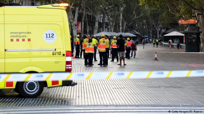 Paramedics at the scene of the Las Ramblas terrorist attack in Barcelona